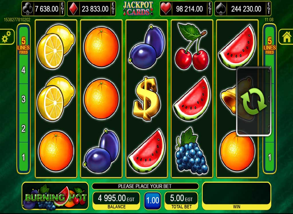 Machine à sous Burning Hot de EGT - Jeux Gratuits de Casino