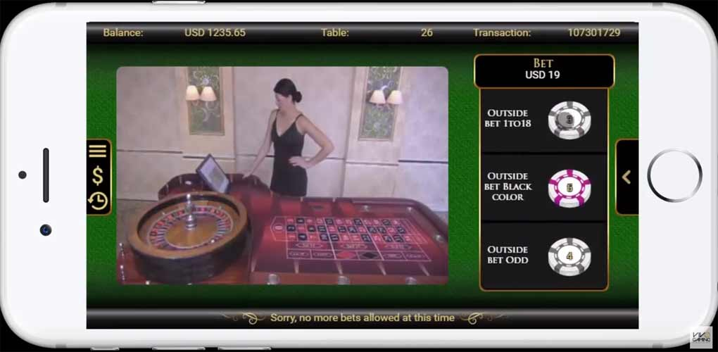 Vivo Gaming Live Roulette sur mobile